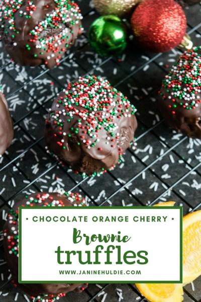 Chocolate Orange Cherry Brownie Truffles