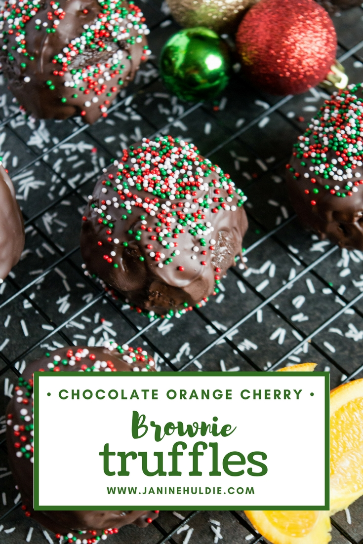 Chocolate Orange Cherry Brownie Truffles