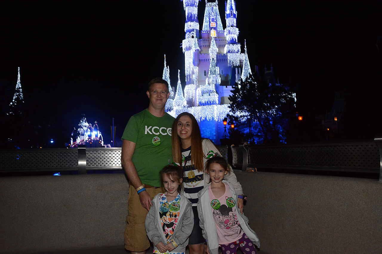 In front of Cinderella's Castle at Mickeys Very Merry Christmas Party MK