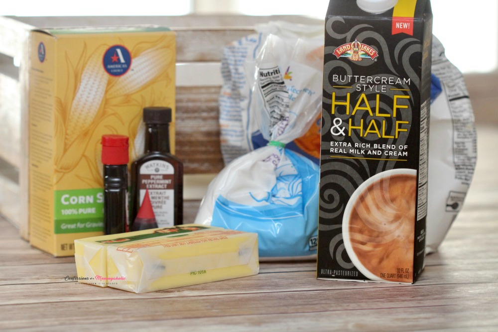 Supplies for Peppermint Shortbread Buttercream Sandwich Cookies