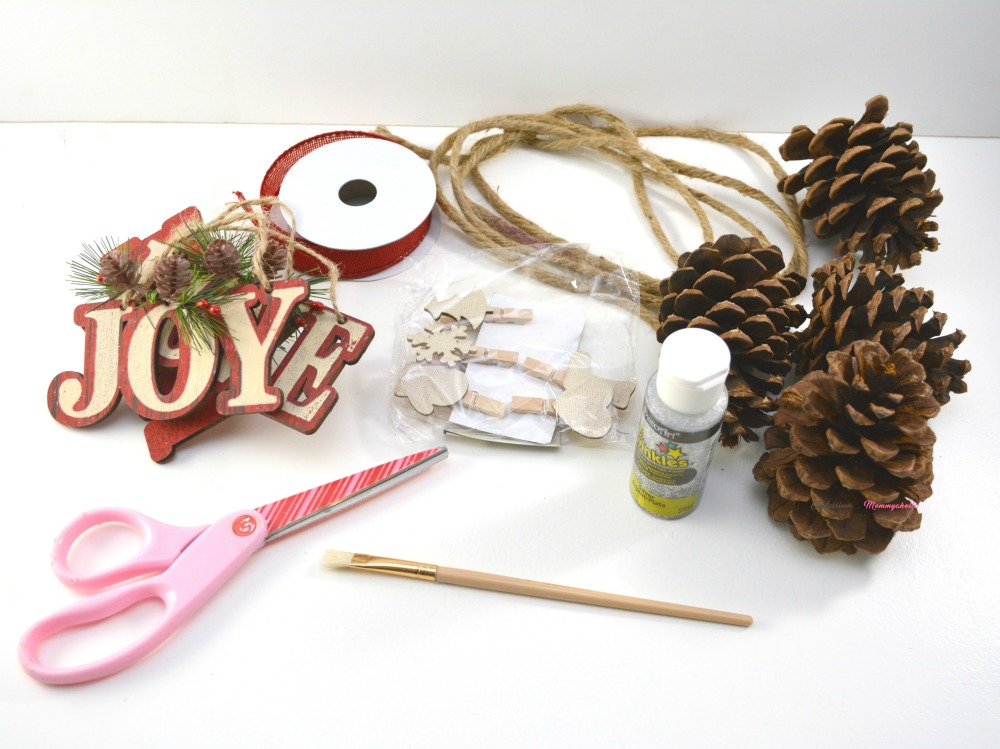 Supplies for Rustic Pinecone Garland