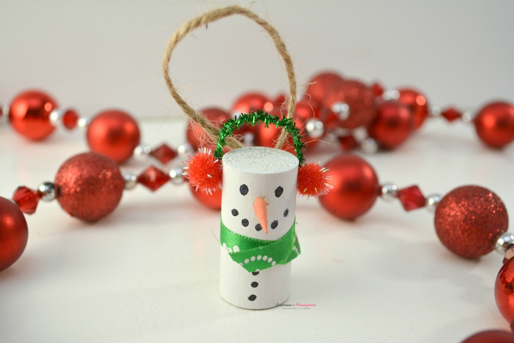 Wine Cork Snowman Ornament Horizontal