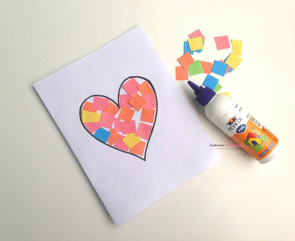 Easy Heart Pieces Kids Craft Card - This Mom's Confessions