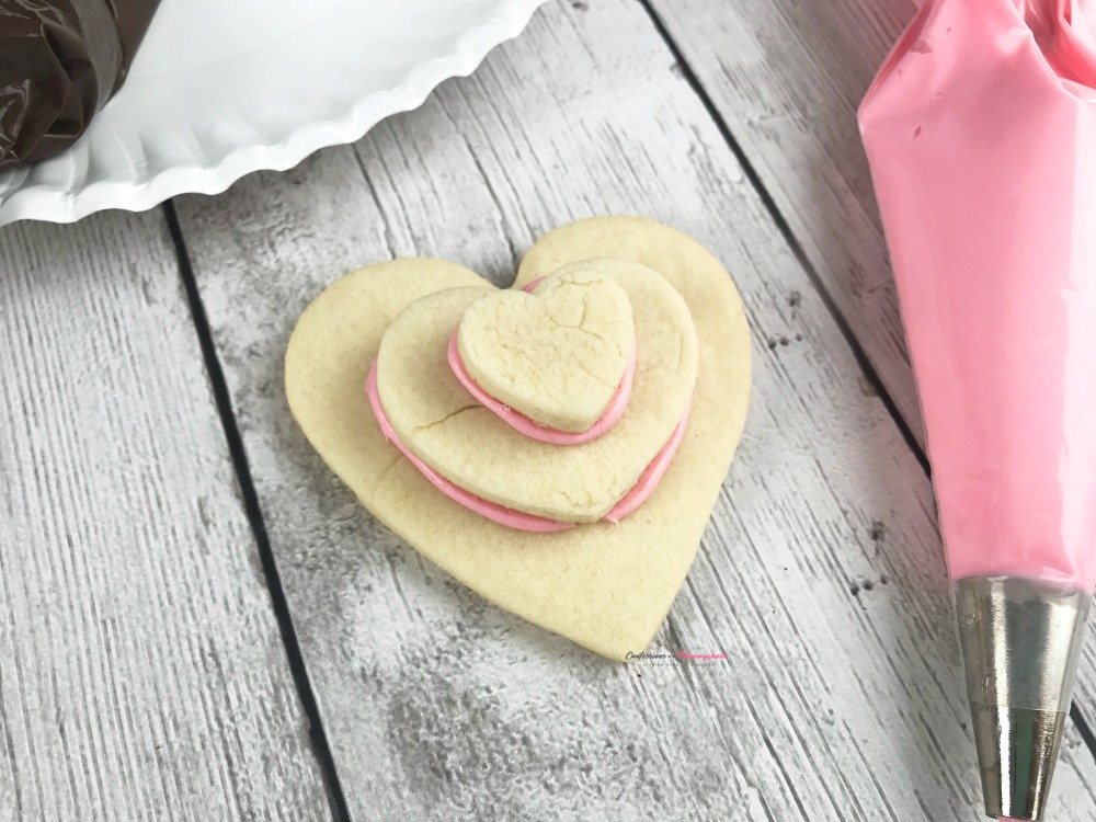 Step 3 Decorating Heart Shaped Valentine Stacked Cookies