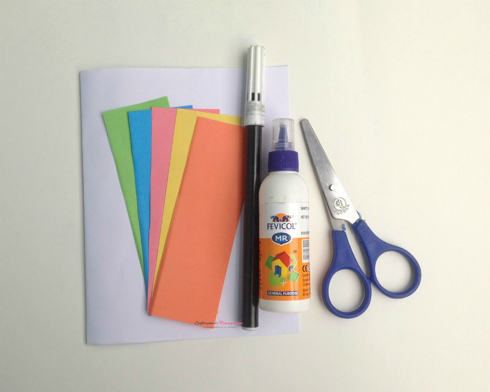Supplies for Easy Kids Craft Heart Pieces Card