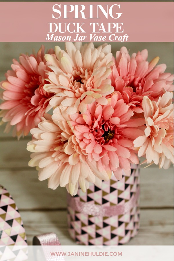 Spring Duck Tape Mason Jar Vase Craft Featured Image
