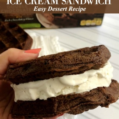 Chocolate Waffle Ice Cream Sandwich Recipe Featured Image