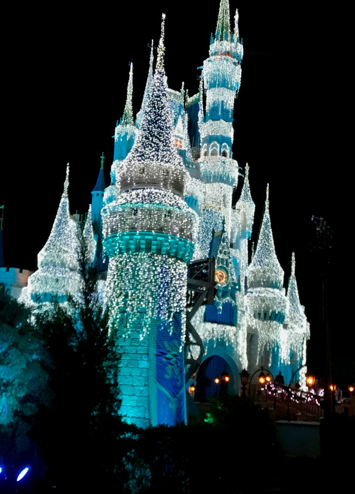 Cinderellas Castle Decorated for Mickey's Very Merry Christmas Party