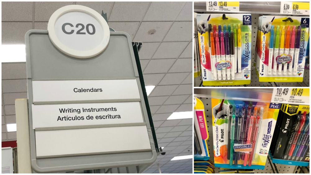 Target In Store Photos for Pilot FriXion Pens
