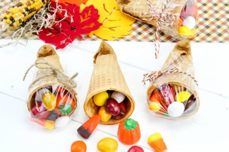 Thanksgiving Sugar Cone Cornucopia Treats
