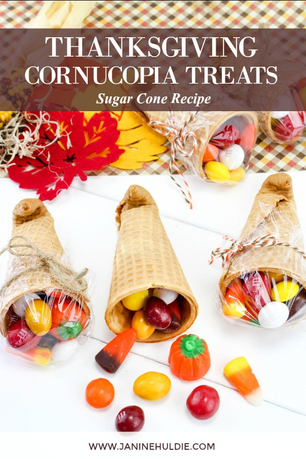 Thanksgiving Sugar Cone Cornucopia Treats Recipe Featured Image