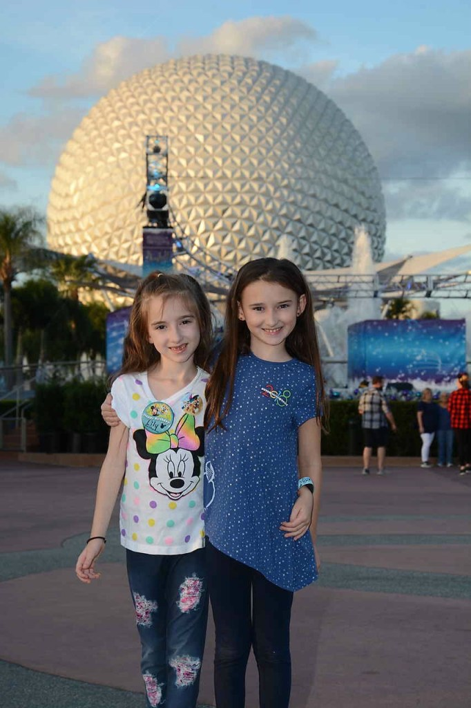 The Girls in Front of Epcot Ball November 2018