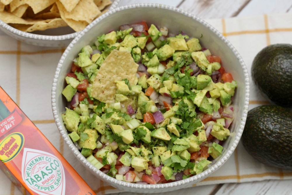 All Done Cucumber Tomato Salad with Diced Avocados From Mexico in Bowl