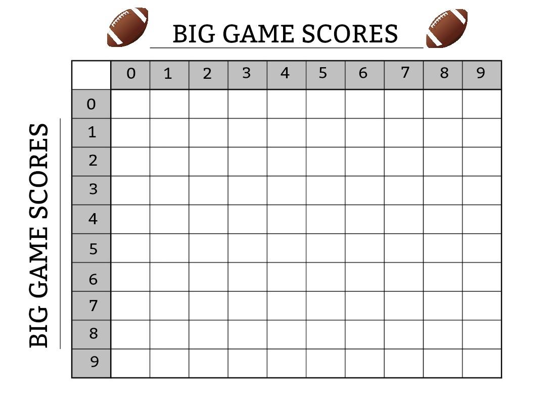 Big Game Scores Printable