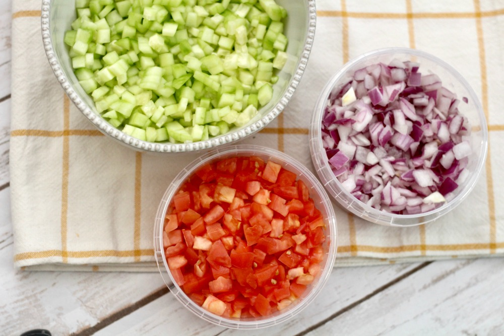 Diced Cucumbers Tomatoes and Red Onions