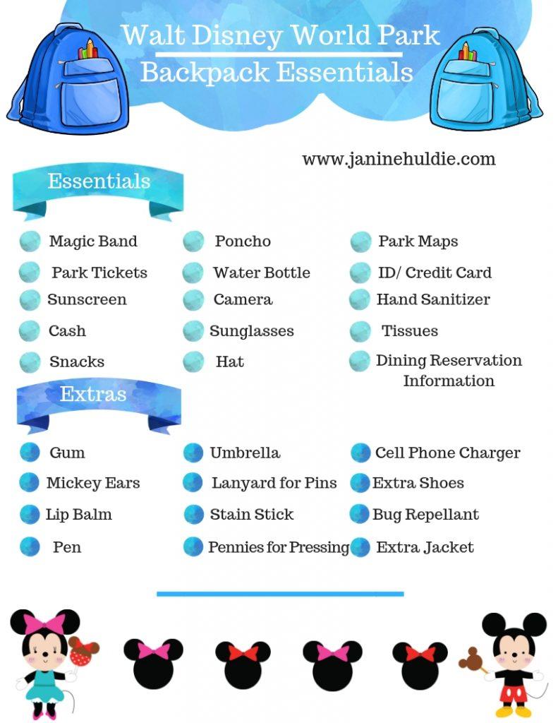 Walt Disney World Park Backpack Essentials