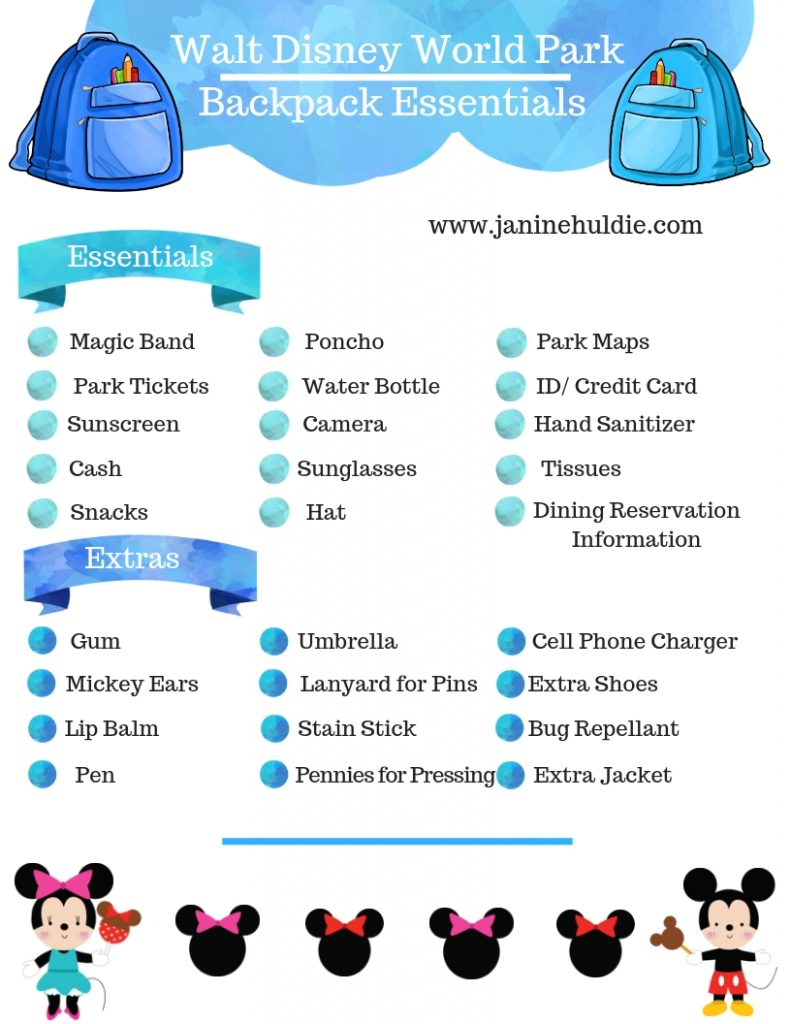 Walt Disney World Park Backpack Essentials