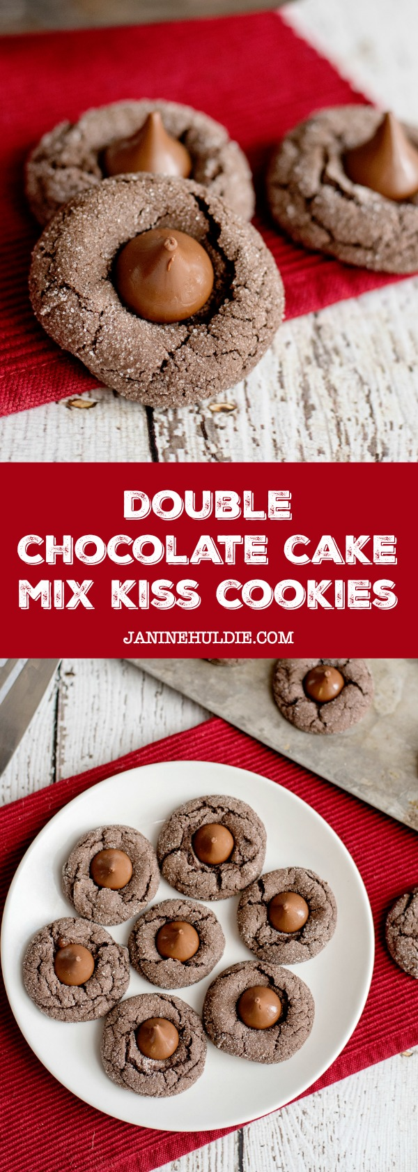 Double Chocolate Cake Mix Kiss Cookies Recipe