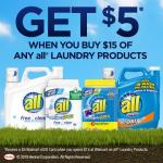 Spring Ahead to Spend $15 on all® laundry products to Get $5 Walmart eGift Card