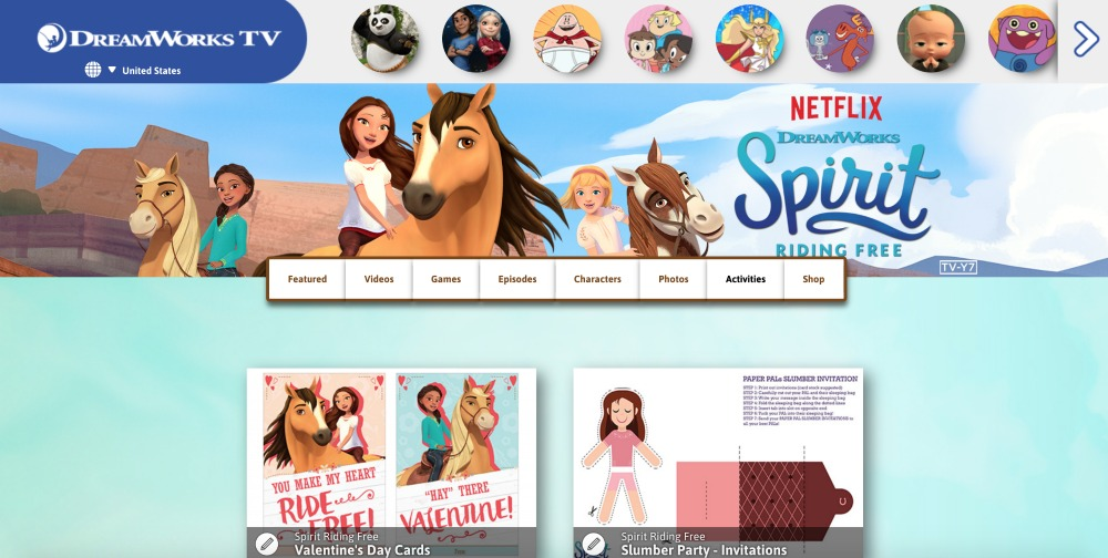 Spirit Riding Free Activities Site Screenshot