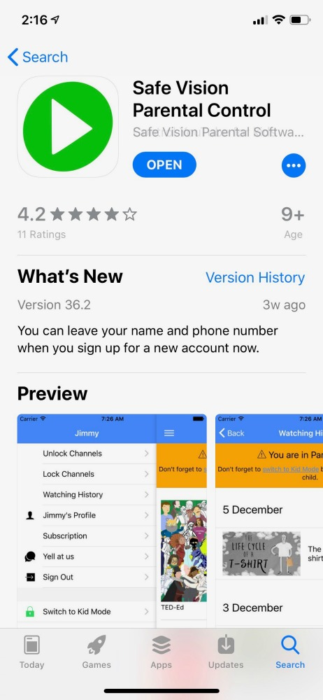 Safe Vision App in the App Store