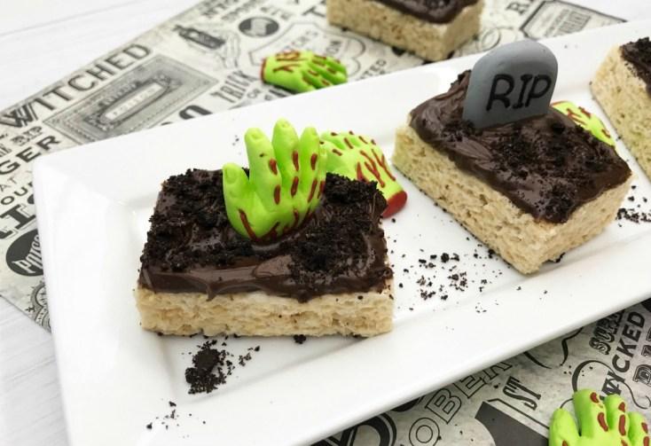 Graveyard Rice Krispie Treats Spooky Halloween Recipe Tutorial