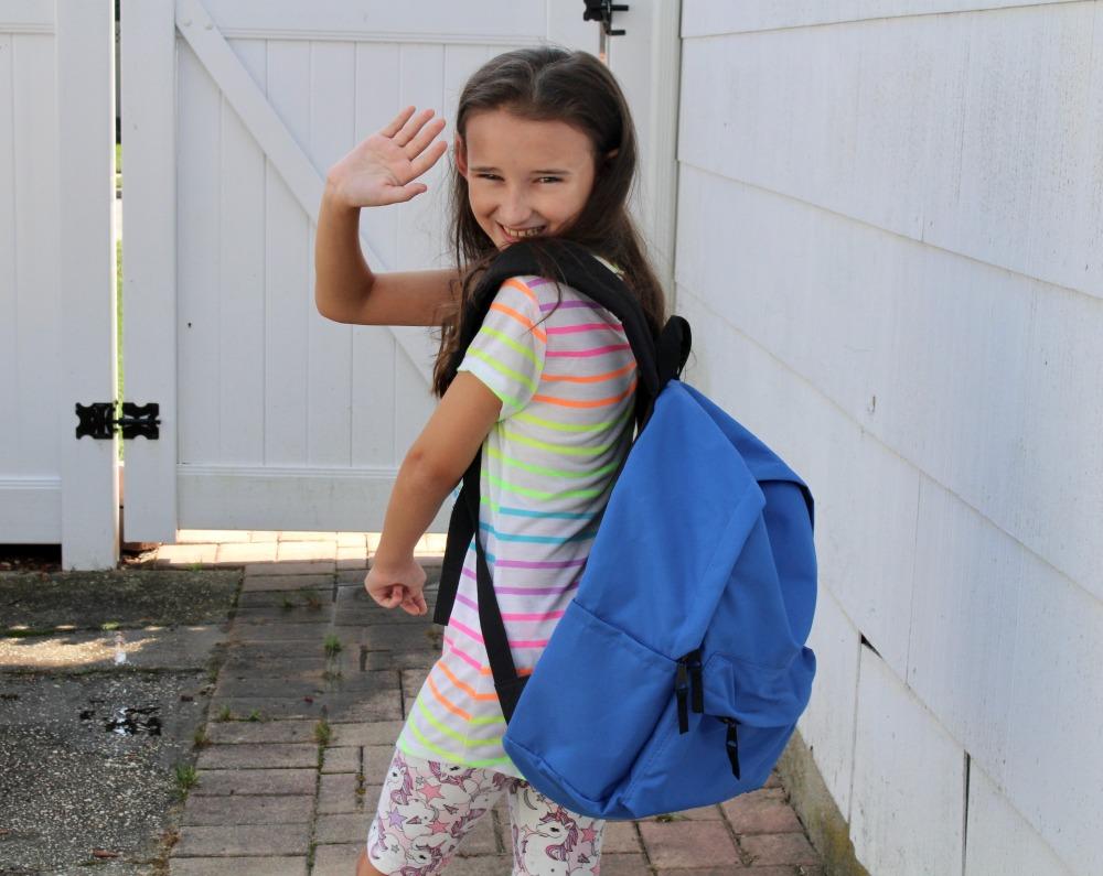 Waving Bye with AmazonBasics Everyday School Backpack