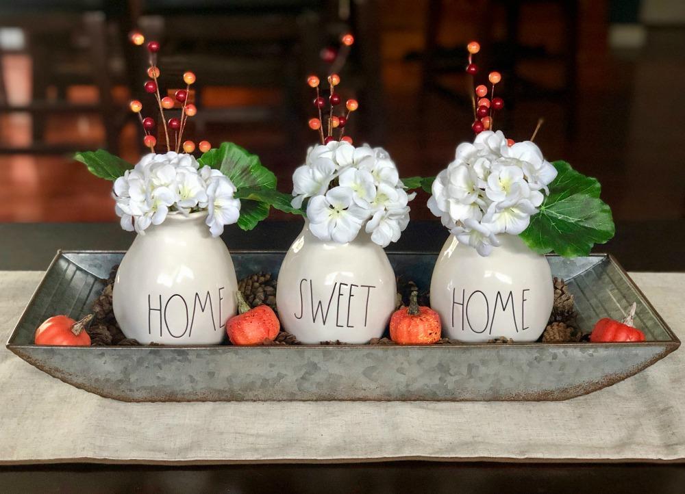 Rae Dunn Home Sweet Home Vases Fall Table Display