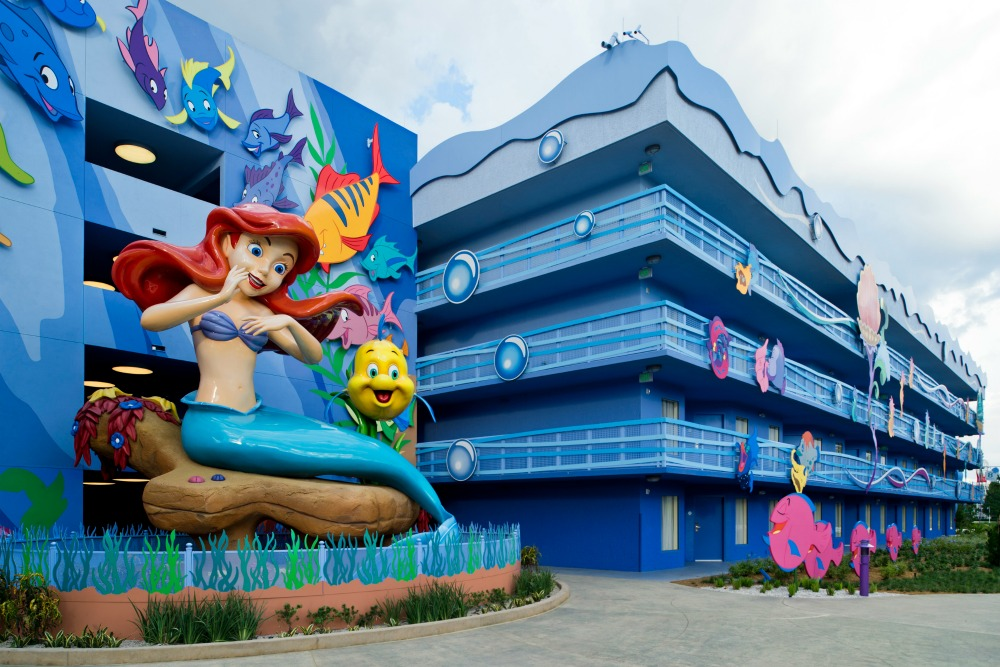 "Surrounded by Flounder and friends, a larger-than-life Ariel overlooks ""The Little Mermaid"" courtyard and Flippin' Fins pool at Disney's Art of Animation Resort. Beginning Sept. 15, 2012, guests can dive ""under the sea"" with Ariel and become part of her world when the resort's final phase opens with 864 standard hotel rooms. Disney's Art of Animation Resort is a value property located at Walt Disney World Resort in Lake Buena Vista, Fla. (Matt Stroshane, photographer)"