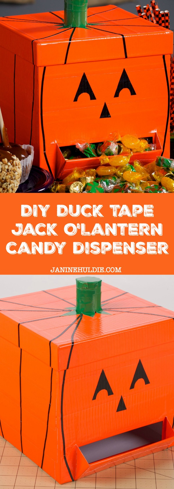 DIY Duck Tape Jack O Lantern Candy Dispenser