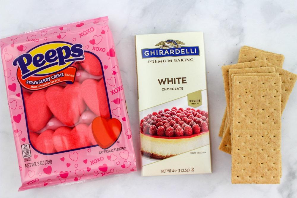 Valentine Peeps Smores What's Needed