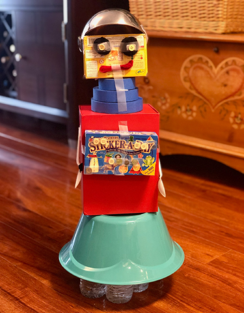 Recycled Robot for Distance Learning Art Class My Girls Recently Made Together