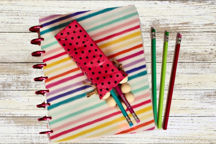 Upcycled Washi Tape Pencil Holder Easy Kids Craft Using a Juicy Juice Box
