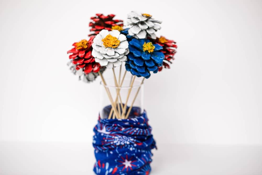 Patriotic Pinecone Floral DIY Decor Display 9