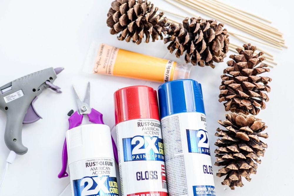 Patriotic Pinecone Floral DIY Decor Display Supplies