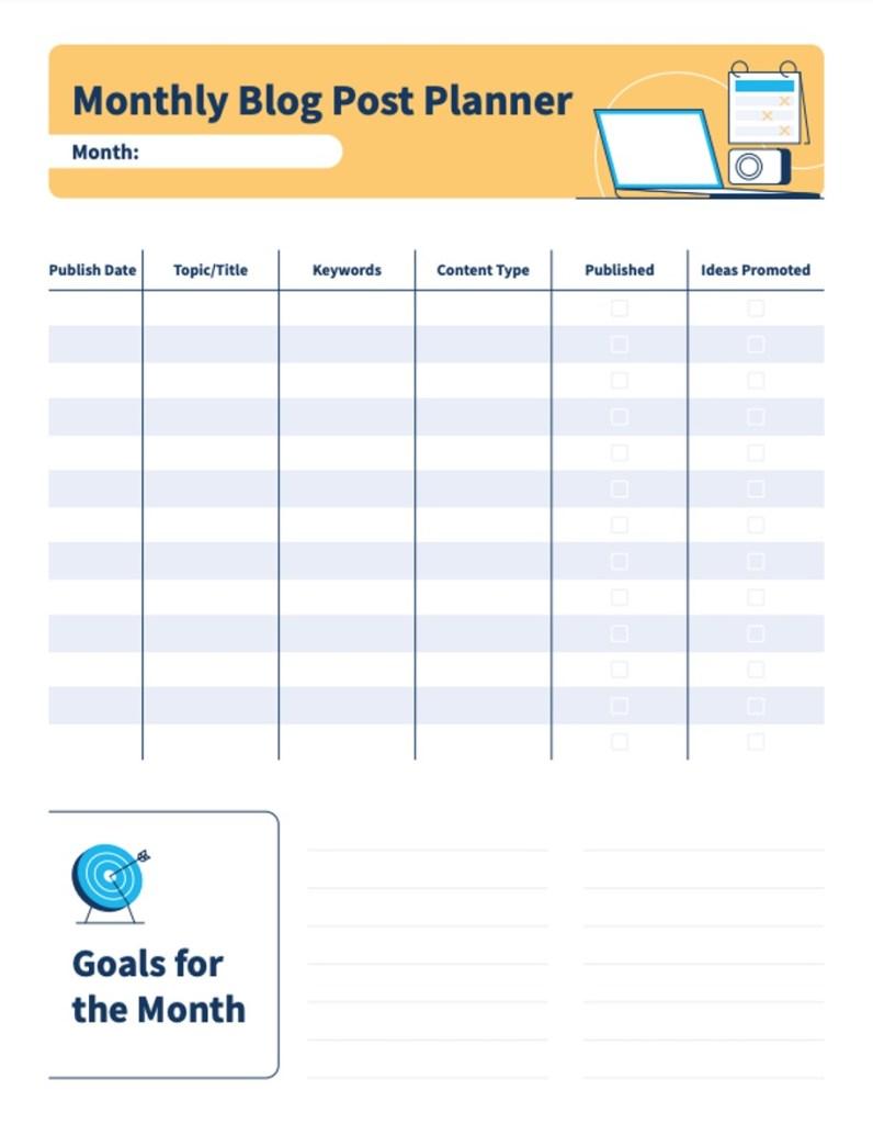 Free Blog Planner Image