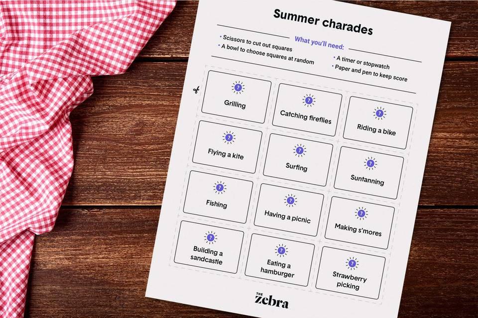 Summer Charades Printable