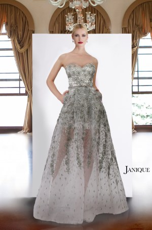 Designer floral lace long dress in silver. Sleeveless tulle dress by Janique in gray. Metallic lace gown with no sleeve.