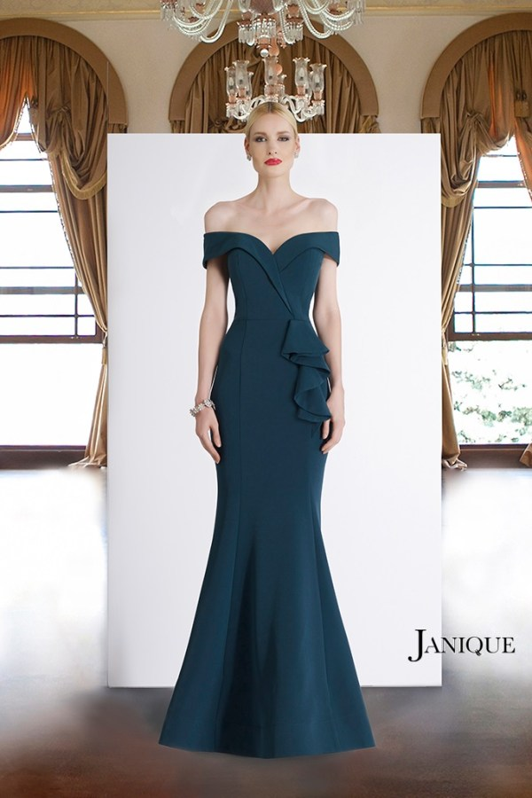 Stretch crepe couture sleeve designer long dress in teal. Evening wear off shoulder gown with ruffle peplum by Janique.