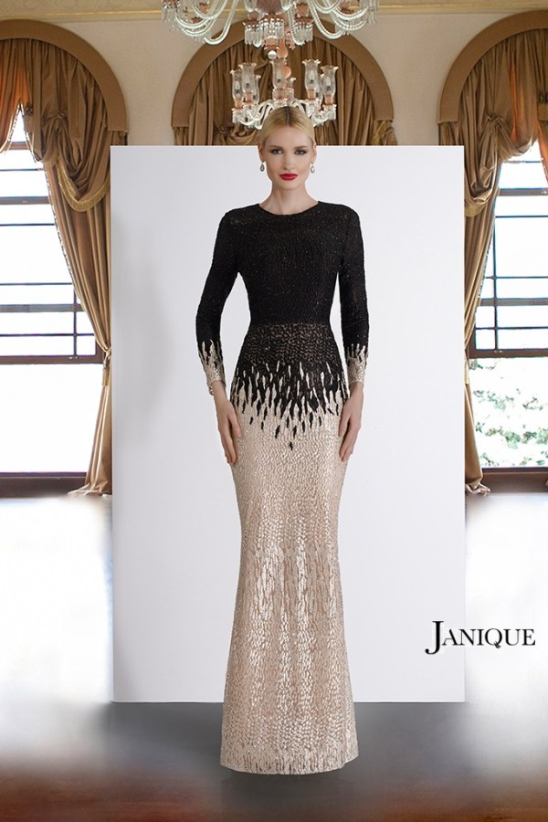 MOB long sleeve covered encrusted lace gown. Beaded long dress for mother of the bride. Evening wear lace dress by Janique.