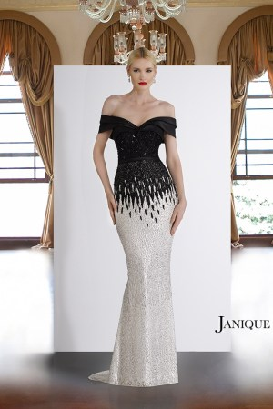 Pageant dresses. Off the shoulder gown with encrusted lace. Black and white long dress by Janique. Evening wear dress with beaded bodice.