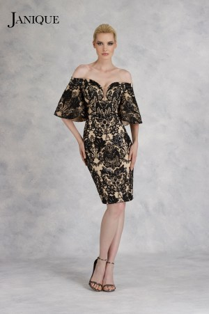Sequin lace plunging off shoulder cocktail dress. Short bell sleeves embroidered lace short dress in black & nude by Janique.