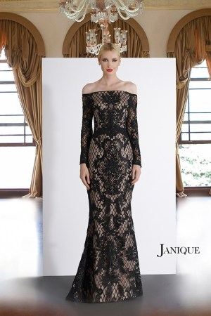 Lace applique long sleeve off the shoulder dress. MOB lace gown with sleeve by Janique. Pageant off the shoulder lace gown.
