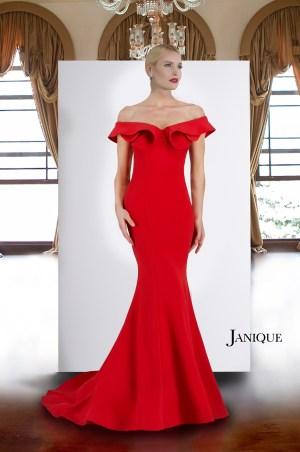 Off the shoulder long dress with train in red by Janique. Stretch crepe off shoulder with folded ruffle neckline long gown.