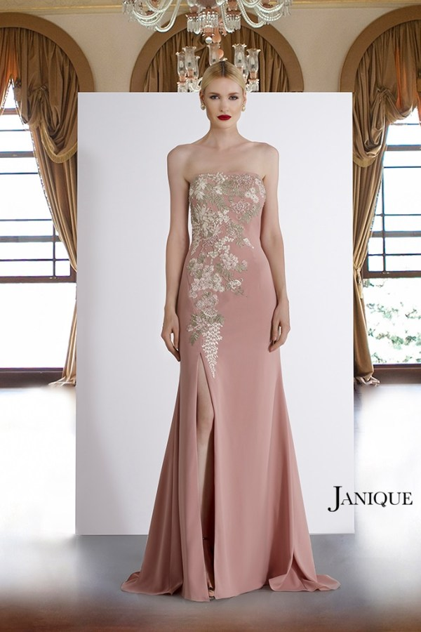 Strapless blush dress with floral applique and slit.