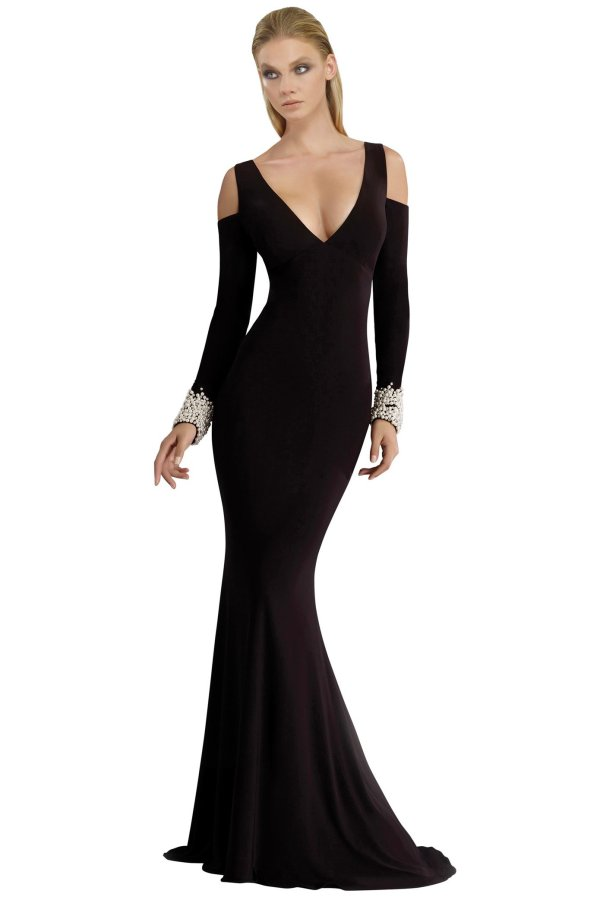 Designer long sleeve dress in black. Pearl cuffs jersey long dress. Cold shoulder long sleeve gown with beaded cuffs.
