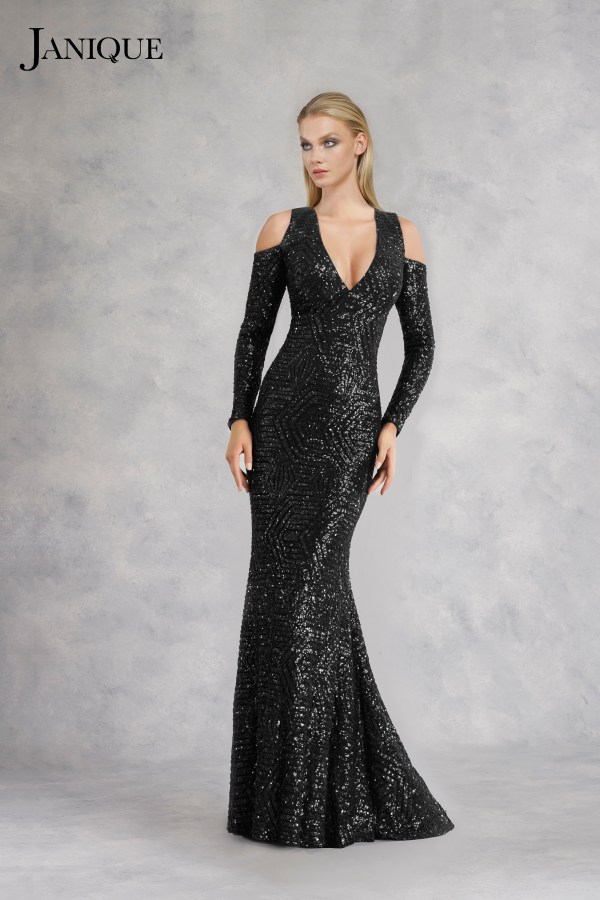 Sequin long dress with cold shoulder sleeves in black.