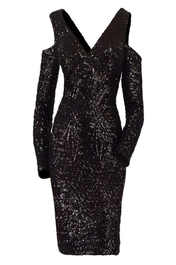 Sequin beaded cocktail dress. Short dress fully beaded sequin off the shoulder in black. Cocktail dress long sleeves beaded.