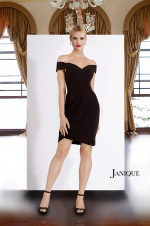 Stretch crepe off the shoulder cocktail dress in black. Black short dress with folded off the shoulder neckline by Janique.
