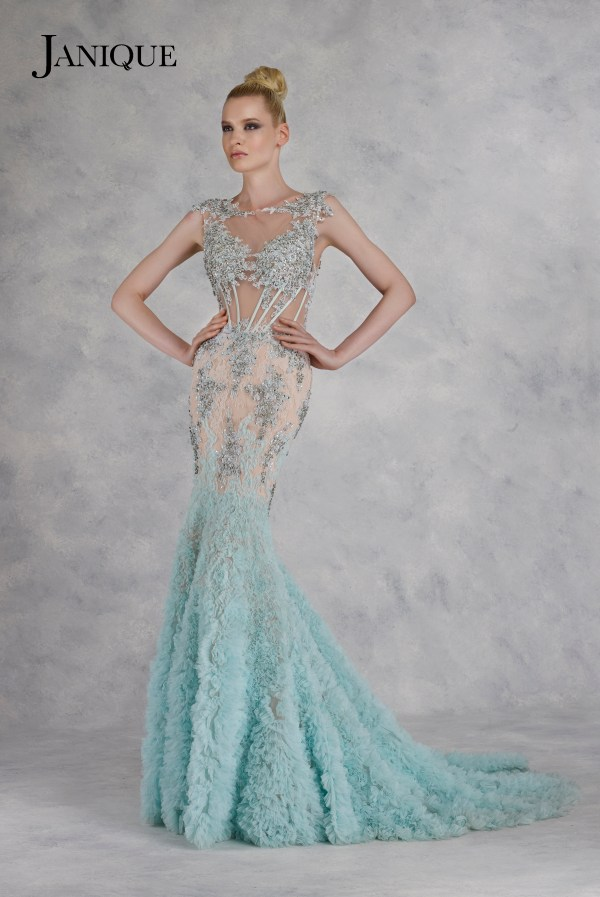 Lace beaded applique tulle long dress with ruffled skirt. Encrusted blue lace tulle dress. Designer lace ruffled skirt gown.